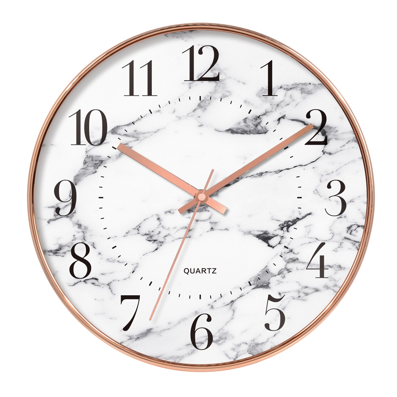White Marble Clock Face Design Home Decoration Plastic Wall Clock