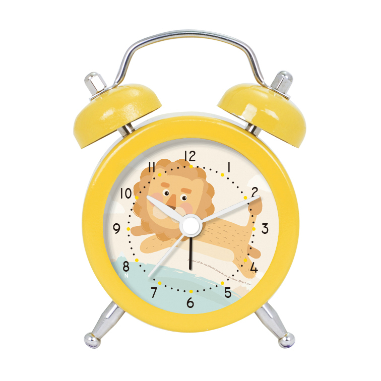 2 inch Yellow Cartoon Lion Designed to Accept Custom Desk Alarm Clock for Children