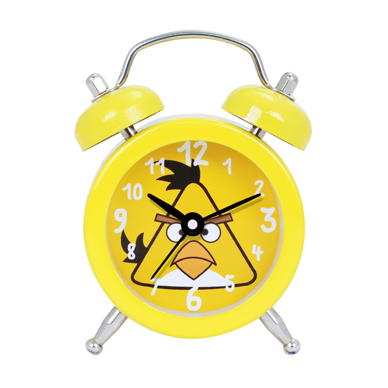 Mini Bell Alarm Clock Designed with Yellow Cartoon Birds