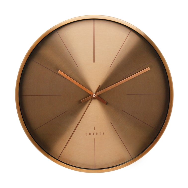 DEHENG 16 inch Dark Cooper Modern Decorative Large Metal Wall Clock